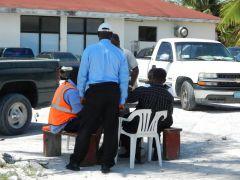 Customs officials? slack time.