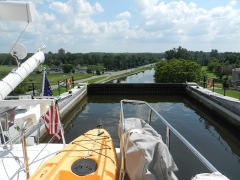 In the lift lock at top.