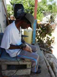 JR signs the conch horn
