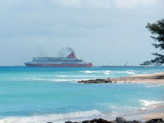 Fast Ferry at pier, ocean side of island